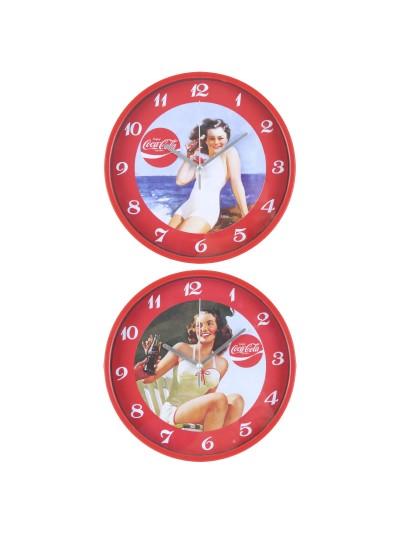 """INART Πλαστικό Ρολόι Τοίχου Ρετρό """"Coca Cola"""" 2 Σχέδια Κωδικός: 3-20-229-0000 Διαστάσεις: 22,5Χ4 Εκατοστά"""
