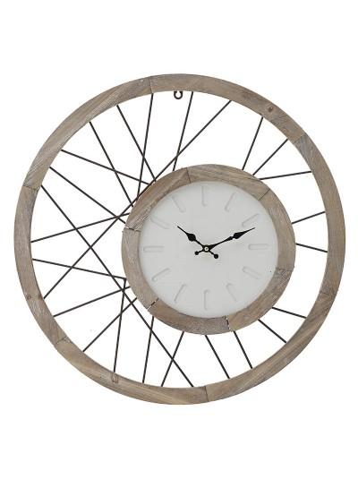 INART Ξύλινο Ρολόι Τοίχου Σε Αντικέ Natural Χρώμα Κωδικός: 3-20-484-0411 Διαστάσεις: 60Χ4,5Χ60 Εκατοστά
