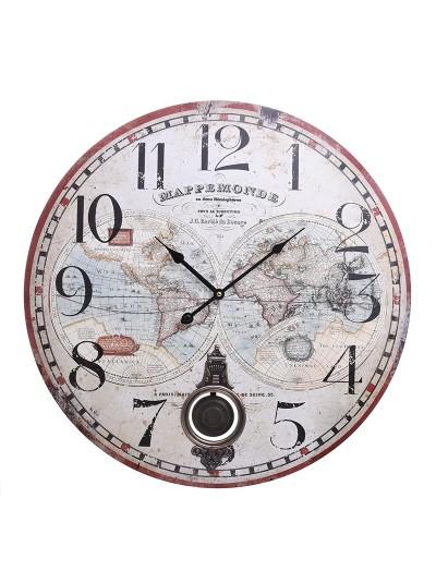 """INART Ξύλινο Ρολόι Τοίχου """"Άτλας"""" Κωδικός: 3-20-773-0308 Διαστάσεις: 58Χ4 Εκατοστά"""