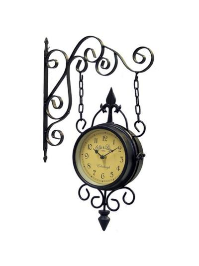 INART Μεταλλικό Ρολόι Σταθμού Σκούρο Καφέ Κωδικός: 3-25-021-0013 Διαστάσεις: 29Χ9Χ46 Εκατοστά