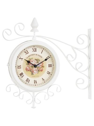 INART Ρολόι Σταθμού Μεταλλικό Λευκό Με Λουλούδια Κωδικός: 3-25-021-0108 Διαστάσεις: 40Χ8,5Χ38 Εκατοστά