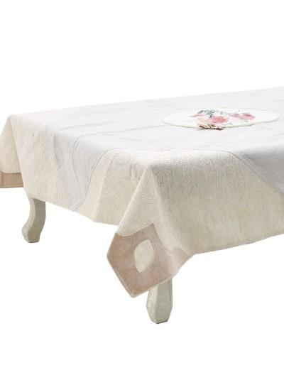 INART Βελούδινο Καρέ Εκρού με Δαντέλα, Πέρλες και Σχέδιο Λουλουδιών Κωδικός: 3-40-152-0009 Διαστάσεις: 120X120 Εκατοστά