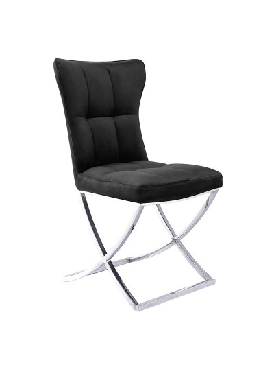 INART Βελούδινη Καρέκλα Μαύρη με Μεταλλική Βάση Κωδικός: 3-50-033-0007 Διαστάσεις: 58X50X92,51 Εκατοστά