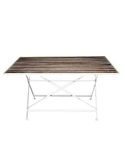 INART Μεταλλικό/Ξύλινο Τραπέζι Φαγητού με Λευκή Βάση και Ξύλινη Επιφάνεια Κωδικός: 3-50-052-0011 Διαστάσεις: 143,5X84X75,5 Εκατοστά