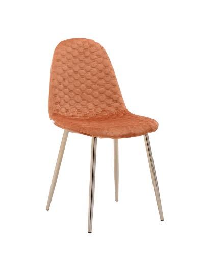 ΙΝΑRT Βελούδινη Καρέκλα Μελί με Σχέδιο Κυψέλης και Μεταλλικά Πόδια Κωδικός: 3-50-064-0004 Διαστάσεις: 44X46X88 Εκατοστά