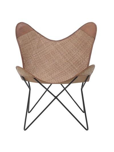 "INART Καρέκλα/Πολυθρόνα ""Πεταλούδα"" Ψάθινη με Μεταλλικό Σκελετό Κωδικός: 3-50-069-0006 Διαστάσεις: 75Χ65Χ75 Εκατοστά"