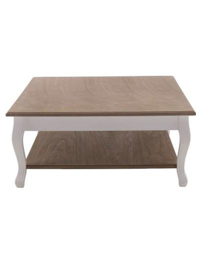 INART Τραπέζι Ξύλινο Μπεζ με Λευκά Πόδια Κωδικός: 3-50-104-0194 Διαστάσεις:  80X80X35 Εκατοστά
