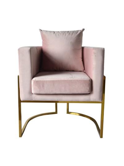 Βελούδινη Πολυθρόνα Ροζ με Χρυσά Μεταλλικά Πόδια INART Κωδικός: 3-50-177-0023 Διαστάσεις: 73X70X74,5 Εκατοστά