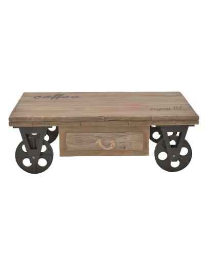 Τραπέζι Σαλονιού INART Ξύλινο Καφέ με Ρόδες Κωδικός: 3-50-242-0053 Διαστάσεις: 123Χ73Χ41 Εκατοστά