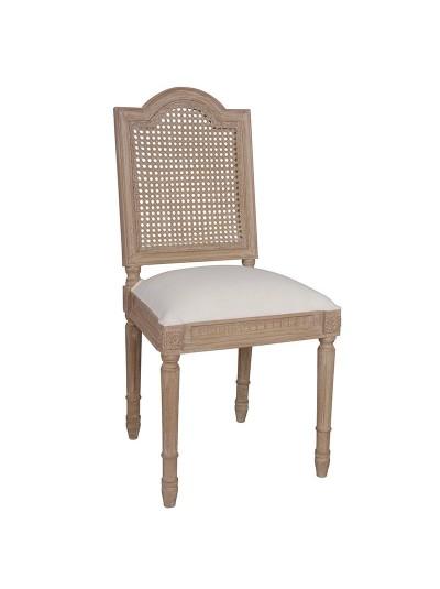 INART Καρέκλα Ξύλινη με Διάτρητα και Ανάγλυφα Σχέδια με Υφαασμάτινο Κάθισμα Εκρού Κωδικός: 3-50-422-0045 Διαστάσεις: 47X51X99 Εκατοστά