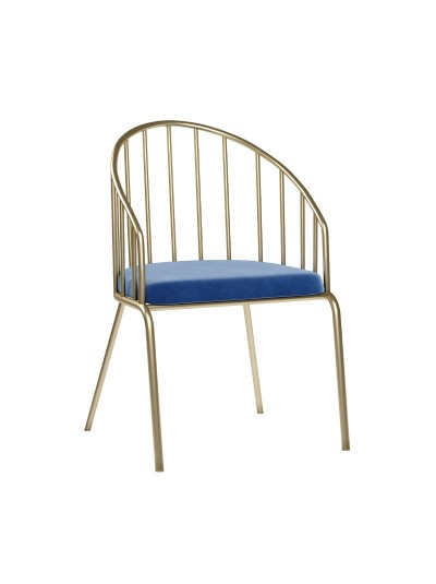ΙΝΑRT Βελούδινη Καρέκλα Μπλε με Χρυσή Βάση Κωδικός: 3-50-529-0002 Διαστάσεις: 61X61X86 Εκατοστά