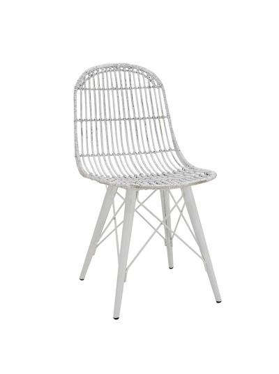 INART Καρέκλα Ρατάν Λευκή-Γκρι με Μεταλλικά Πόδια Κωδικός: 3-50-549-0002 Διαστάσεις: 45Χ41Χ92 Εκατοστά