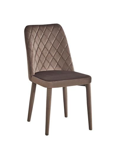 INART Βελούδινη Καρέκλα Καφέ με Ανάγλυφα Σχέδια Kωδικός: 3-50-553-0003 Διαστάσεις: 44Χ44Χ83 Εκατοστά