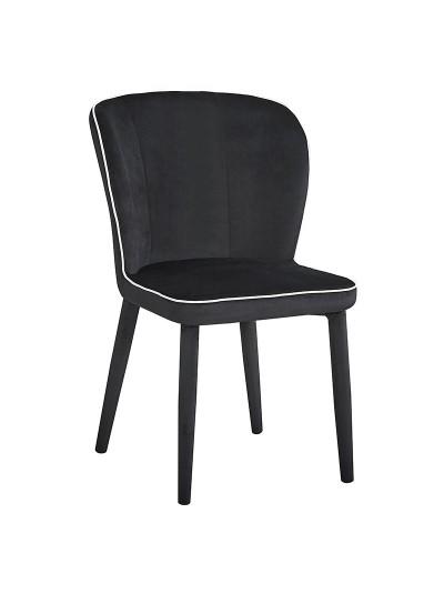 INART Βελούδινη Καρέκλα Μαύρη Κωδικός: 3-50-553-0004 Διαστάσεις: 55X44X87 Εκατοστά