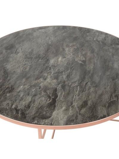 INART Τραπέζι Σαλονιού με Επένδυση Γυαλιού Μεταλλικό/Γυάλινο με Μαρμάρινη Όψη Κωδικός: 3-50-568-0005 Διαστάσεις: 80Χ80Χ40,5 Εκατοστά