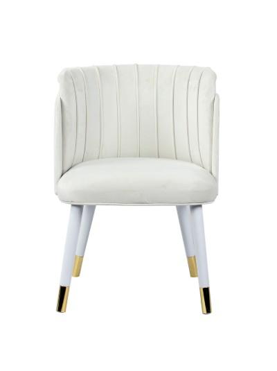 INART Βελούδινη Καρέκλα Λευκή με Χρυσές Κεπτομέρειες Κωδικός: 3-50-588-0038 Διαστάσεις: 52X56X76 Εκατοστά