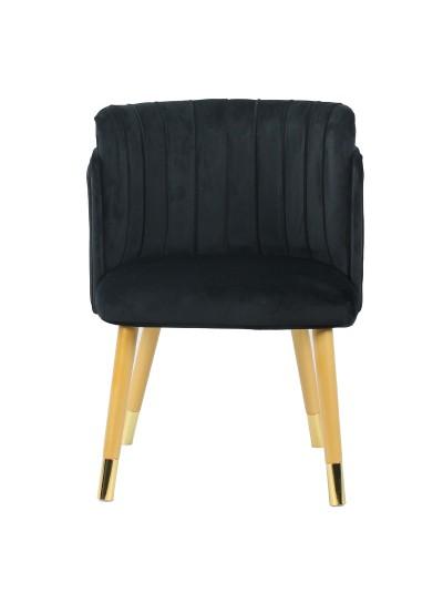 INART Βελούδινη Καρέκλα Mαύρη με Χρυσές Λεπτομέρειες Κωδικός: 3-50-588-0039 Διαστάσεις: 52X56X76 Εκατοστά
