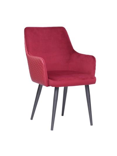 INART Βελούδινη Καρέκλα Φούξια με Μεταλλικά Πόδια Κωδικός: 3-50-644-0018 Διαστάσεις: 61X65X87 Εκατοστά