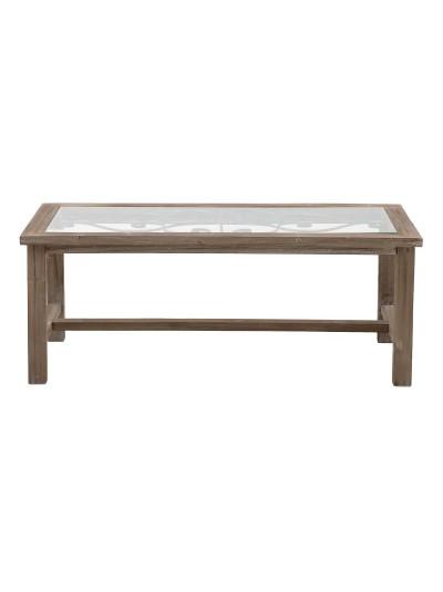 INART Τραπέζι Σαλονιού Ορθογώνιο Ξύλινο/Γυάλινο Natural Κωδικός: 3-50-667-0032 Διαστάσεις: 120Χ60Χ45 Εκατοστά