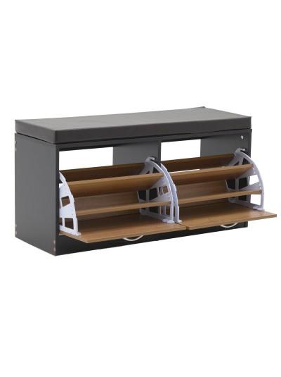 INART Παπουτσοθήκη Πάγκος/Κάθισμα  με Ανακλινόμενο Μηχανισμό, Μαξιλάρι και 2 Ντουλάπια Ξύλινο Καφέ/Μαύρο Κωδικός: 3-50-938-0004 Διαστάσεις: 100Χ38Χ50 Εκατοστά