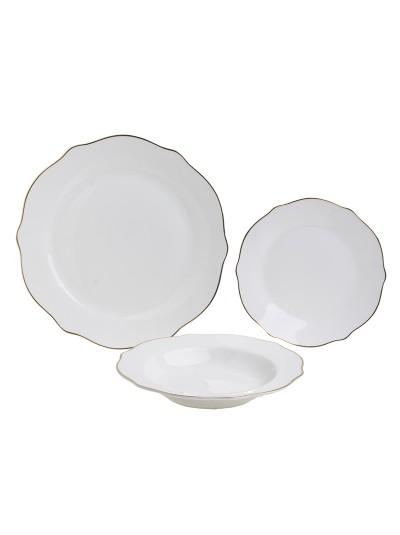 Σετ Φαγητού Πορσελάνης 18 Τεμαχίων INART Λευκό με Χρυσές Λεπτομέρειες Κωδικός: 3-60-416-0001