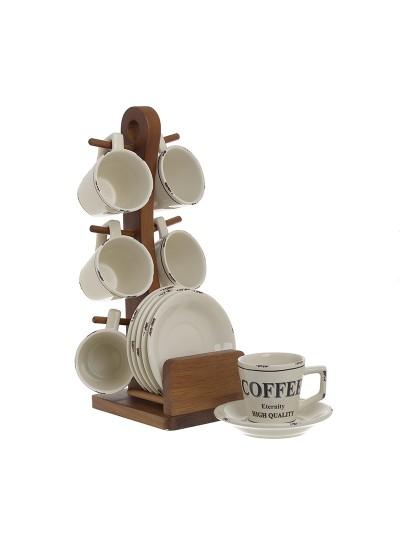 Σετ 6 Τεμαχίων Φλυτζάνια του Καφέ INART Πορσελάνης με Πιατάκι Εκρού Κωδικός: 3-60-931-0140 Διαστάσεις: 11Χ11Χ12Εκατοστά