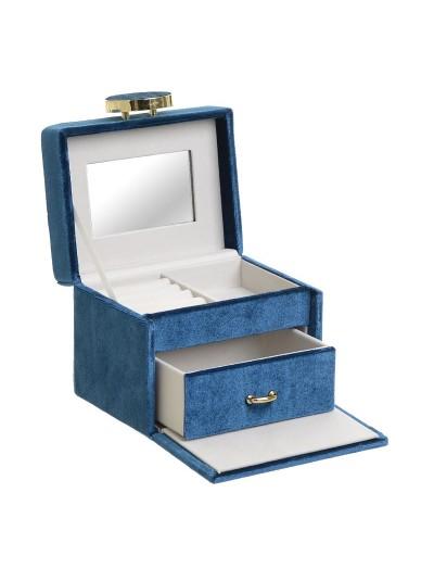 INART Βελούδινη Μπιζουτιέρα Μπλε Κωδικός: 3-70-008-0002 Διαστάσεις: 13X10X10,5 Εκατοστά
