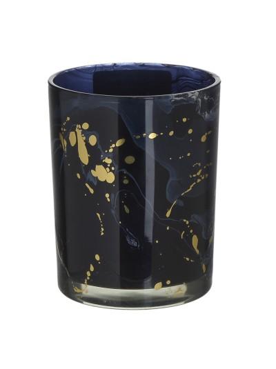 INART Γυάλινο Κηροπήγιο Μαύρο/Χρυσό Κωδικός: 3-70-231-0043 Διαστάσεις: 10Χ10Χ12 Εκατοστά