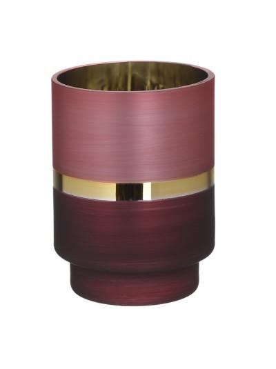 INART Γυάλινο Κηροπήγιο Κόκκινο/Χρυσό Ματ Κωδικός: 3-70-231-0054 Διαστάσεις: 10Χ10Χ13.5 Εκατοστά