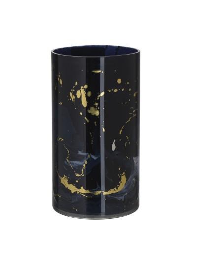 INART Γυάλινο Κηροπήγιο Μαύρο/Χρυσό Κωδικός: 3-70-231-0058 Διαστάσεις: 12Χ12Χ23 Εκατοστά