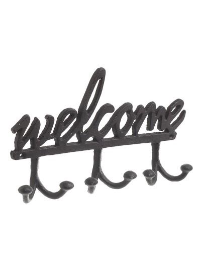 "INART Μεταλλική Κρεμάστρα Tοίχου ""Welcome"" Καφέ Κωδικός: 3-70-798-0266 Διαστάσεις: 24,5Χ4Χ15 Εκατοστά"