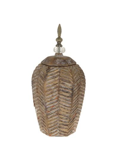 Κεραμικό Βάζο Αντικέ Καφέ Χρυσό με Καπάκι INART