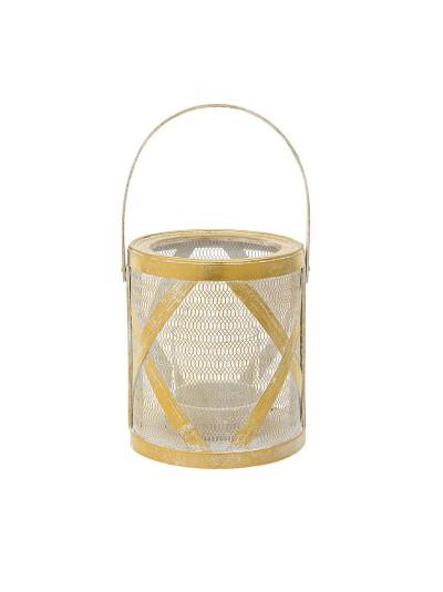 INART Φανάρι Διακοσμητικό Mεταλλικό Χρυσό Κωδικός: 3-70-993-0008 18Χ21 Εκατοστά