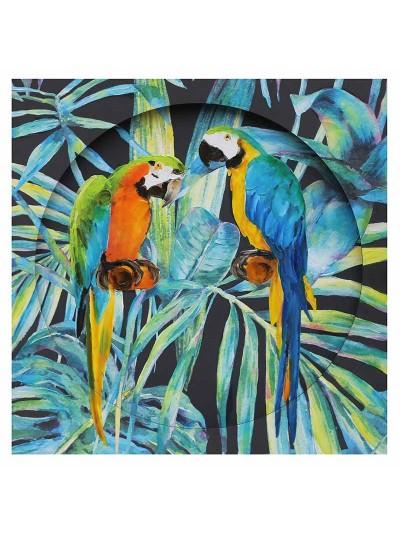 "INART Πίνακας Καμβάς ""Παπαγάλοι"" Πολύχρωμος Κωδικός: 3-90-859-0097 Διαστάσεις: 80Χ80 Εκατοστά"