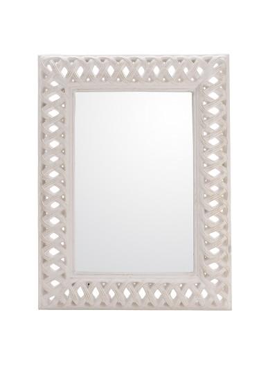 INART Polyresin Ορθογώνιος Καθρέπτης Τοίχου Αντικέ Λευκό Κωδικός: 3-95-261-0132 Διαστάσεις: 93Χ123 Εκατοστά
