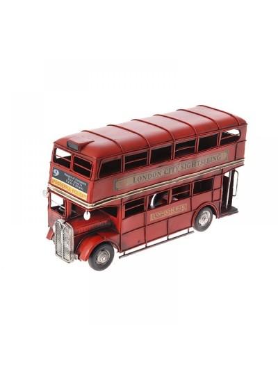 Μεταλλικό Λεωφορείο Κόκκινο Διόροφο 32Χ12Χ19 Εκατοστά