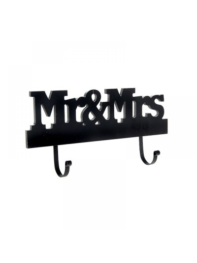 Κρεμάστρα Τοίχου Mr & Mrs 2 Θέσεων Μαύρη Ξυλινη 17Χ34 Εκατοστά