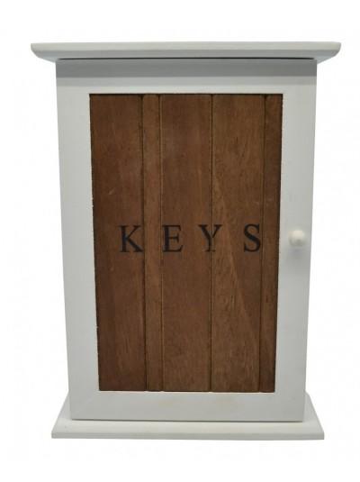 Κλειδοθήκη ξύλινη με λευκό πλαίσιο