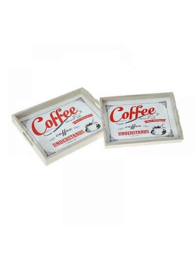 Ξύλινος δίσκος Coffee 35Χ25Χ5 Εκατοστά