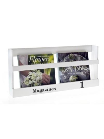Ραφάκι τοίχου για περιοδικά σε λευκό χρώμα 60 Χ 8 Χ 28 Εκ