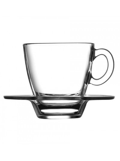 Σετ 6 Φλυτζάνια Espresso Γυάλινα με Πιατάκι