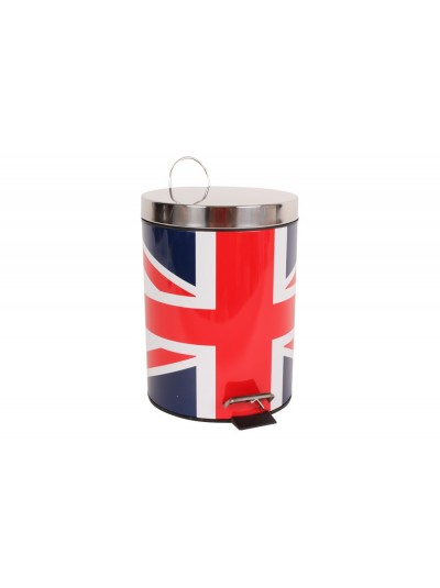 Kαλαθάκι Μπάνιου Πεντάλ Αγγλική Σημαία με Ιnox Καπάκι 20 Χ 28 Εκατοστά