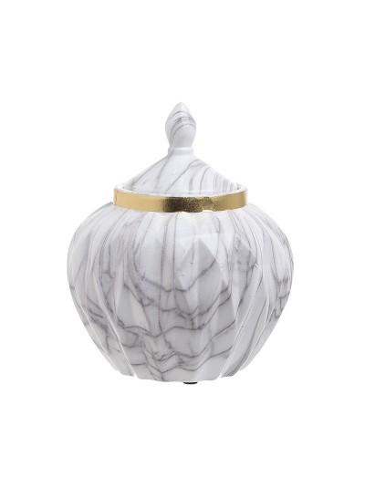 Κεραμικό Βάζο Inart με Σχέδιο Μάρμαρο με Καπάκι 20.5 Χ 17 Εκατοστά
