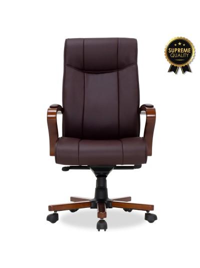 Καρέκλα γραφείου διευθυντή Kansas pakoworld SUPREME QUALITY ξύλο-pu σκούρο καφέ
