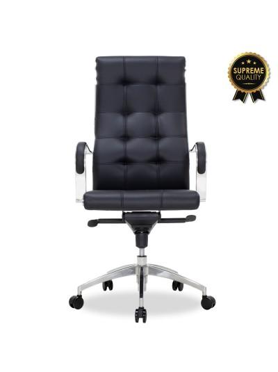 Καρέκλα γραφείου διευθυντή Alabama pakoworld SUPREME QUALITY με μαύρο τεχνόδερμα
