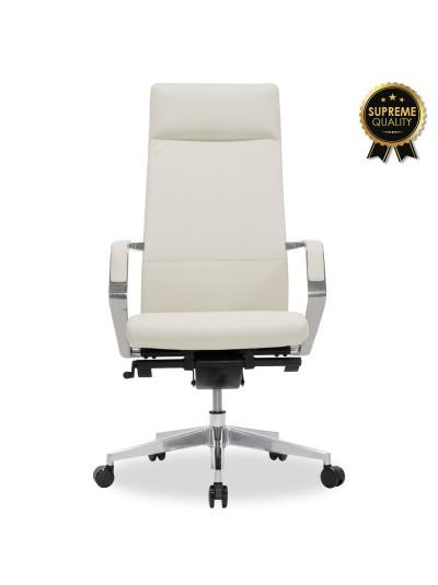 Καρέκλα γραφείου διευθυντή Alaska pakoworld SUPREME QUALITY με white ivory τεχνόδερμα
