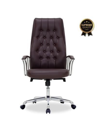 Καρέκλα γραφείου διευθυντή Arizona pakoworld SUPREME QUALITY με σκούρο καφέ τεχνόδερμα