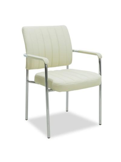 Καρέκλα γραφείου επισκέπτη Leon pakoworld με pu χρώμα εκρού