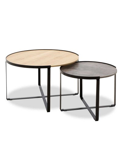 Τραπέζια σαλονιού Rebo pakoworld σετ 2 τεμ χρώματος γκρι cement -φυσικό