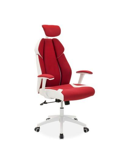 Καρέκλα γραφείου διευθυντή MOMENTUM Bucket pakoworld κόκκινο υφάσμα Mesh-πλάτη pu λευκό